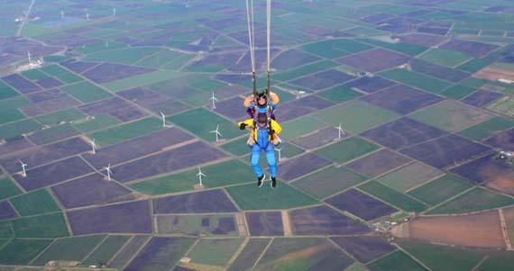parachute open - enjoying the decent