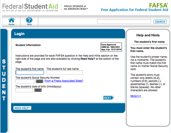 fafsa screen