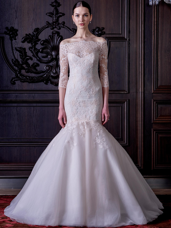 Monique lhuillier 39 s new wedding dress collection is both for Monique lhuillier wedding dresses