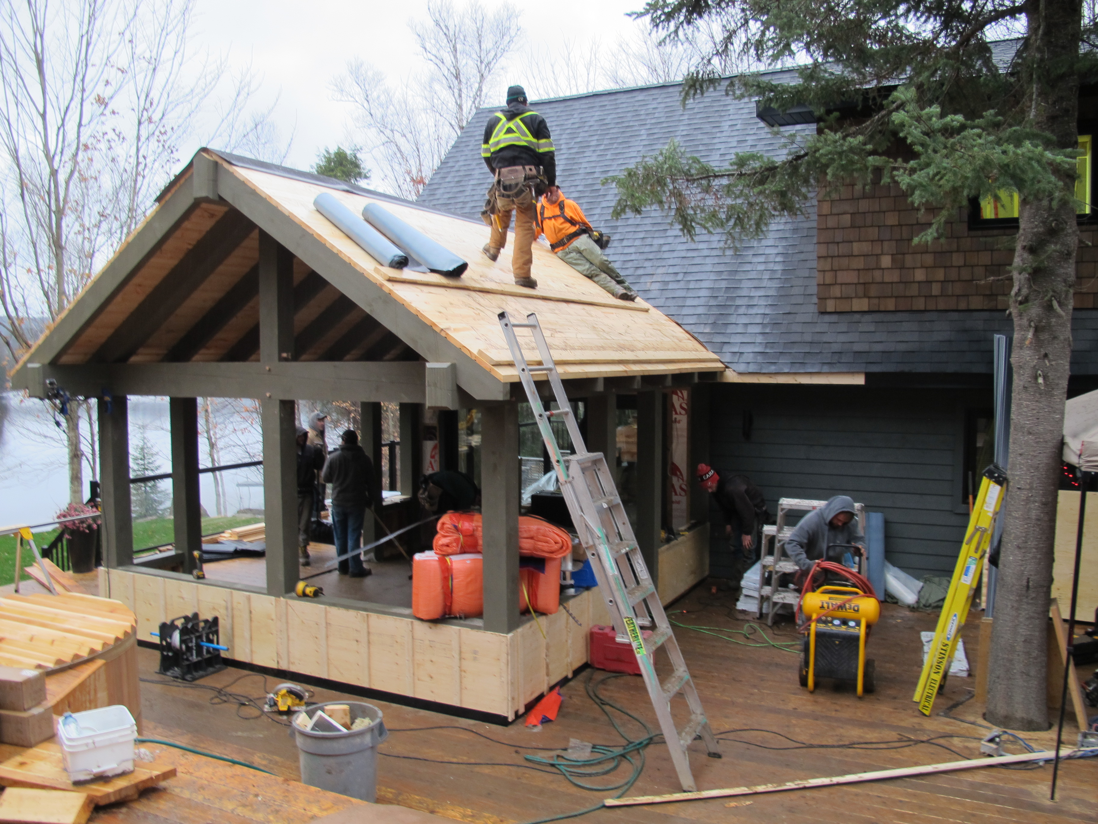 Building our cottage snowroom i mean sunroom for Timber frame sunroom addition