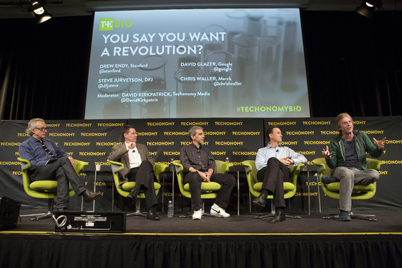 From left, David Kirkpatrick, Chris Waller, David Glazer, Steve Jurvetson, and Drew Endy. (Photo by Rebecca Greenfield)
