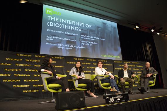 From left, Stephanie Lee, Jennifer Tye, Walter De Brouwer, Ajay Royyuru, and Steve Axelrod. (Photo by Rebecca Greenfield)
