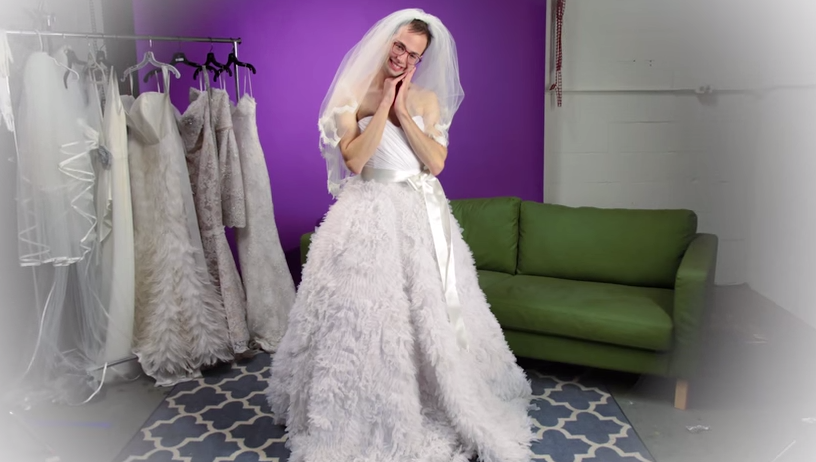 This Is What Happens When Guys Try On Wedding Dresses