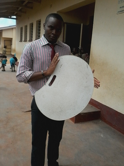 Collins Nyamadzawo with his lapdesk prototype.