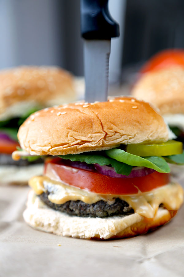 Mushroom Barley Burger with Sriracha Mayo