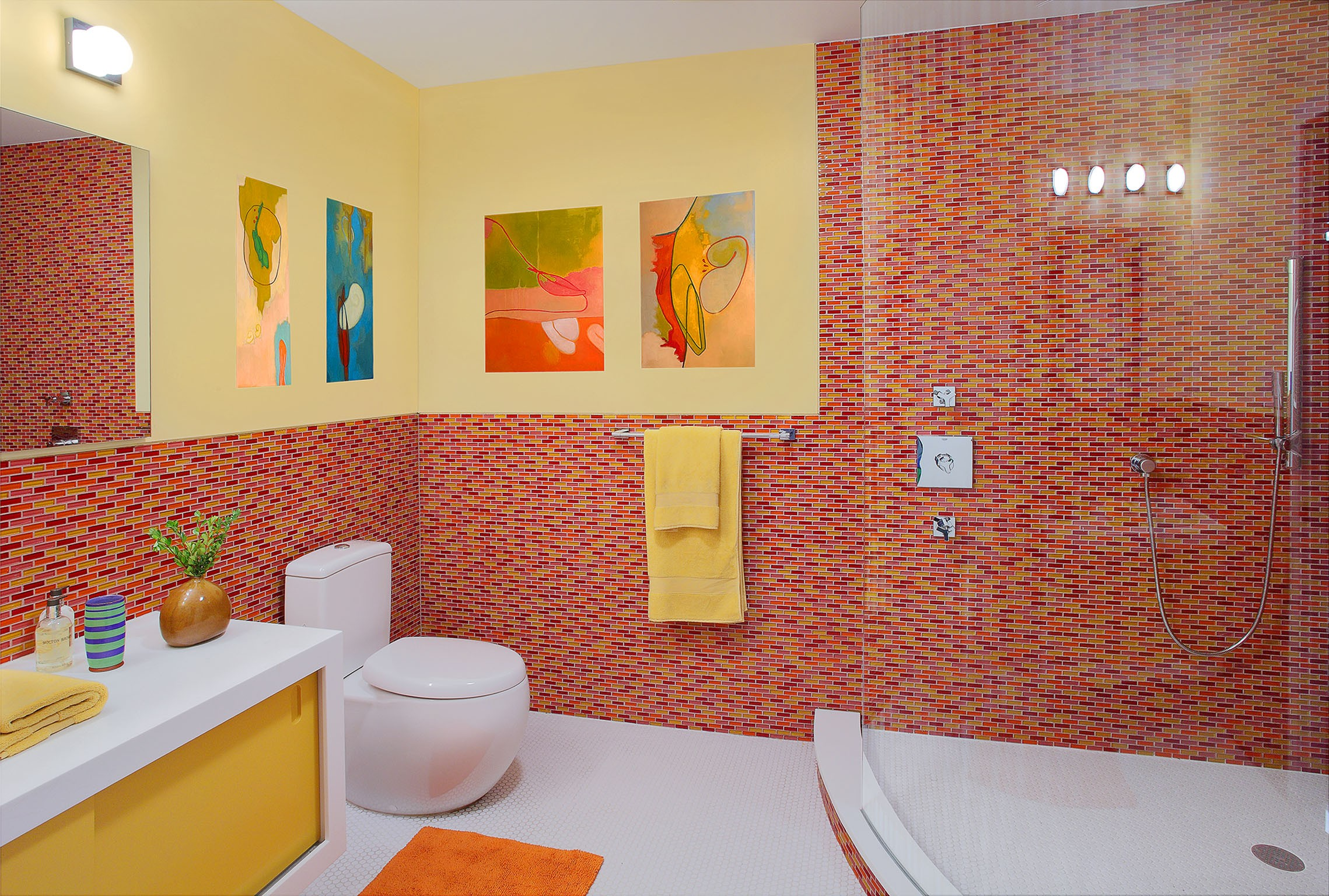 Kids Bathroom Tile 9 Bathrooms That Make Tile Look Trendy Huffpost