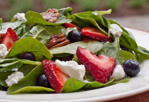 ... salad of baby spinach, pecans and goat cheese. Get ready for oohs and