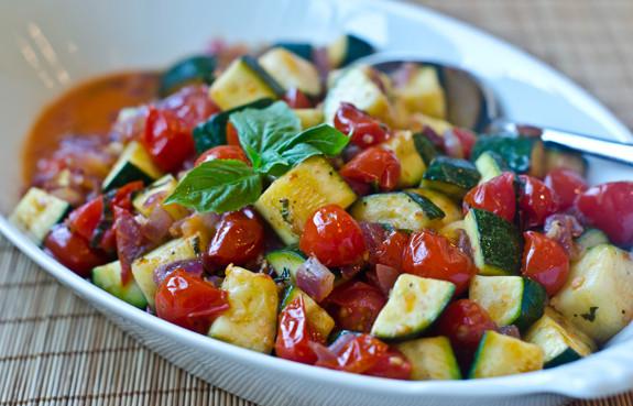 Crisp zucchini, burst cherry tomatoes, sweet red onions: put together ...