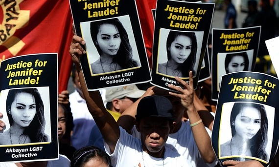A series of protesters arguing for justice for Jennifer Laude