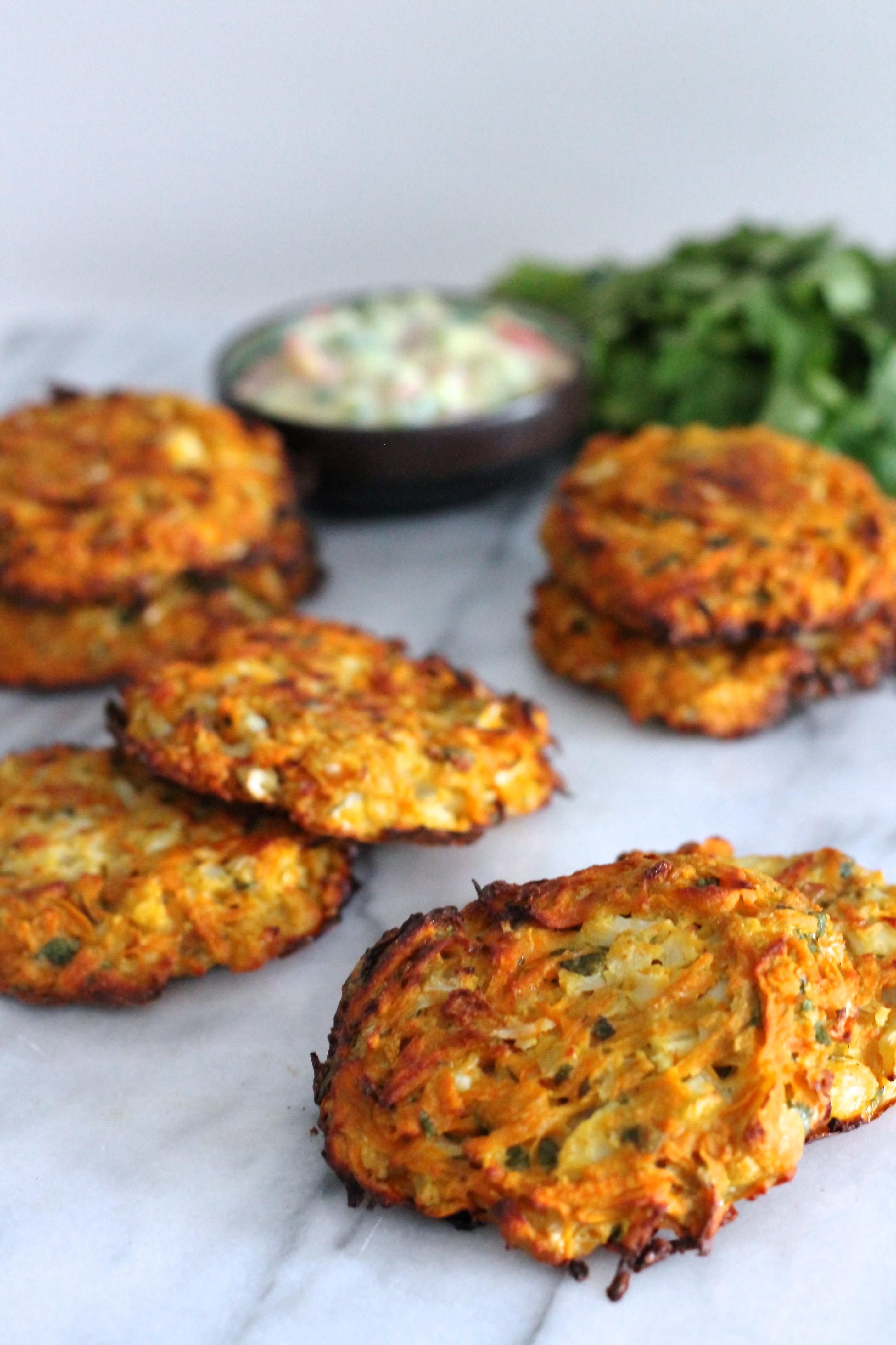 Baked Cauliflower and Sweet Potato Patties | Lisa Roukin