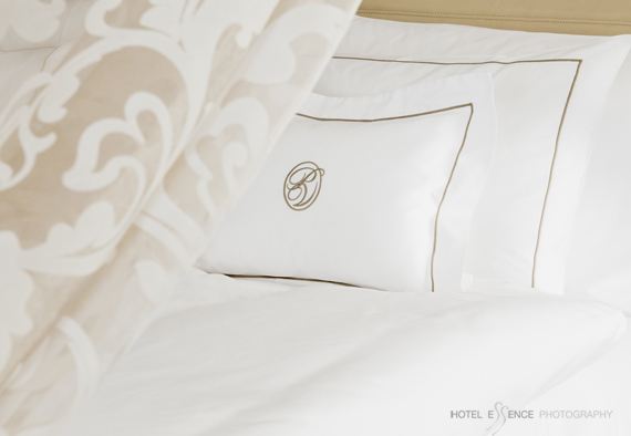 br /<br /> Luxurious beds during a Park Hotel Vitznau, Switzerland © Michelle Chaplow