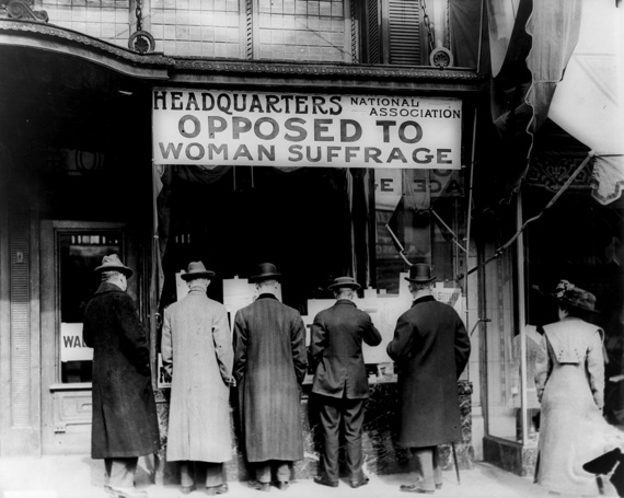 Men gather outside the National Anti-Suffrage Association headquarters in 1911