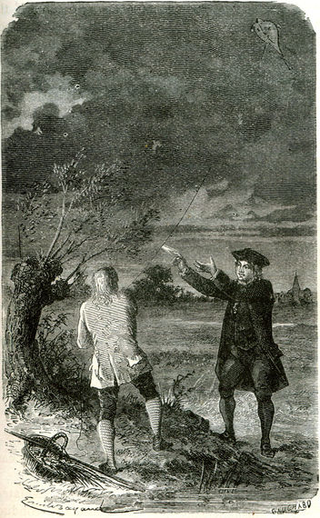 Benjamin and William fly the famous lightning kite