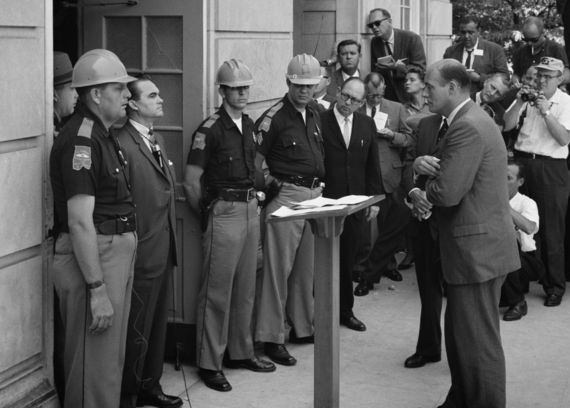 George Wallace attempts to block integration at the University of Alabama on June 11th, 1963