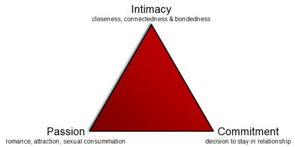 triangle love intimacy For sternberg, love can be understood in terms of three components that can be constructed as a triangle where the triangle acts as a metaphor (sternberg, 1986) these three components are intimacy, passion, and commitment, and the triangle looks like this.
