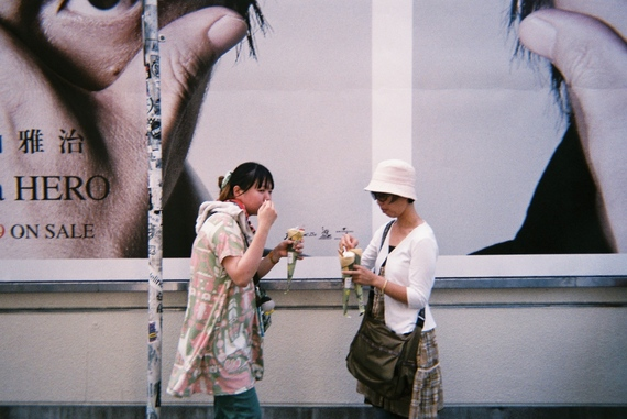 Tokyo locals enjoying ice cream