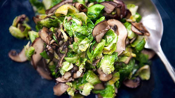 Mushroom and Brussels Sprout Stir-Fry Recipe by Charles Phan