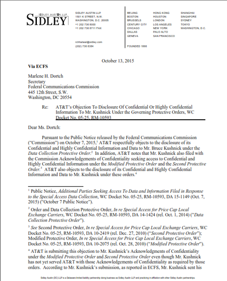 Covering Letter Example August 2015: AT&T To FCC: Stop Kushnick From Examining The Special