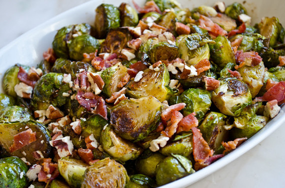 Golden roasted Brussels sprouts with smoky bacon, toasted pecans and ...