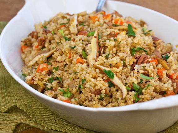 quinoa pilaf with shiitake mushrooms carrots pecans