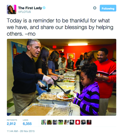 President Obama serves a Thanksgiving meal to previously homeless veterans