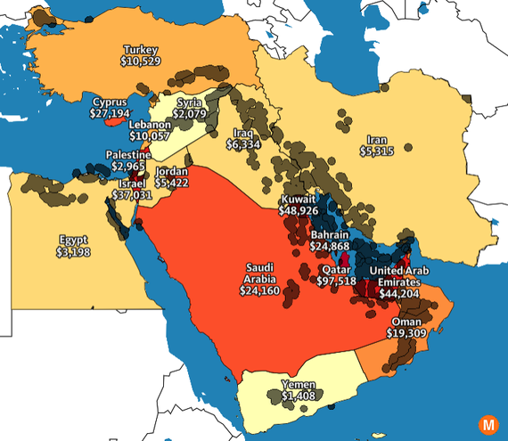 Maps That Explain The Middle East HuffPost - Wealth distribution map us