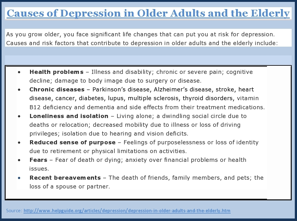 late adulthood and depression Depression in late adulthood depression is a condition in which a person feels discouraged, sad, hopeless, unmotivated or disinterested in life in general.