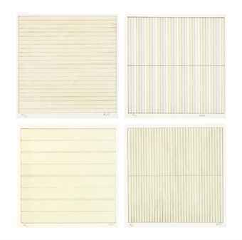 Agnes Martin grid paintings