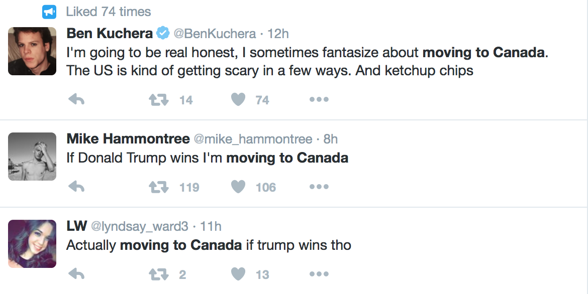 does anyone disgusted by us politics actually move to canada the