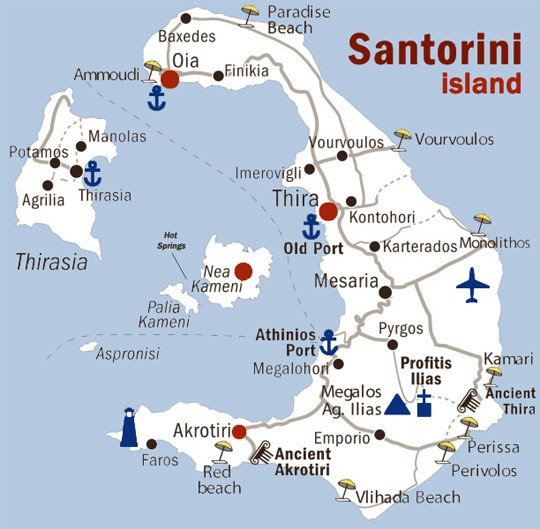 Map Of Santorini And Surrounding Islands