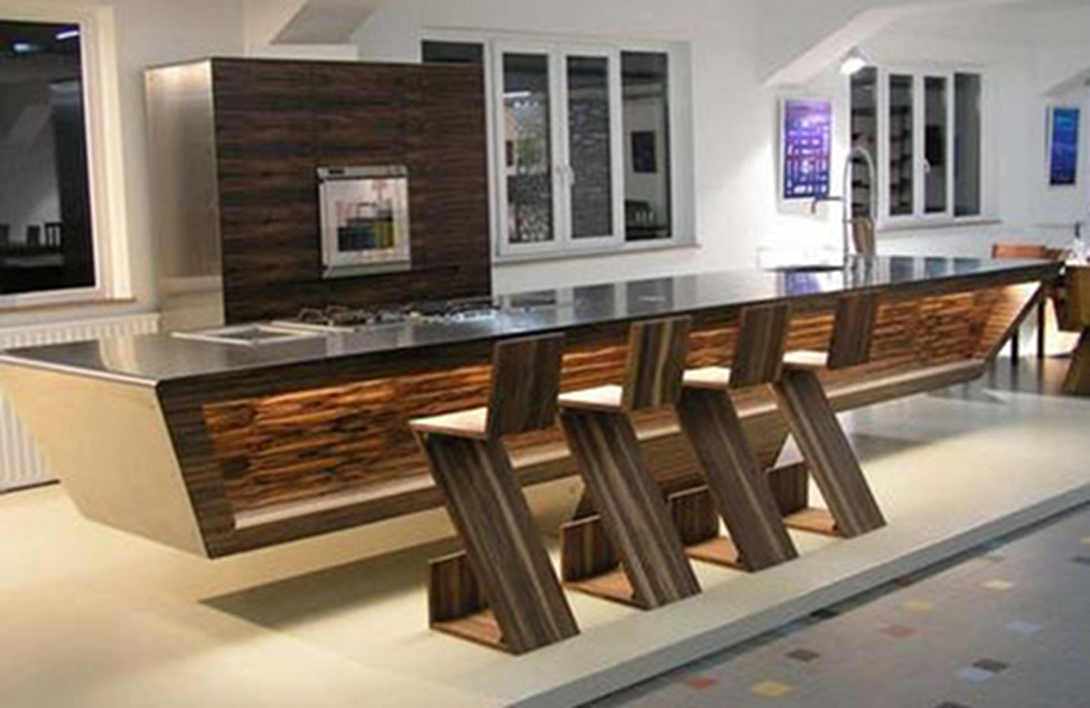 Metal wood a match made in interior design heaven for Modern large kitchen design