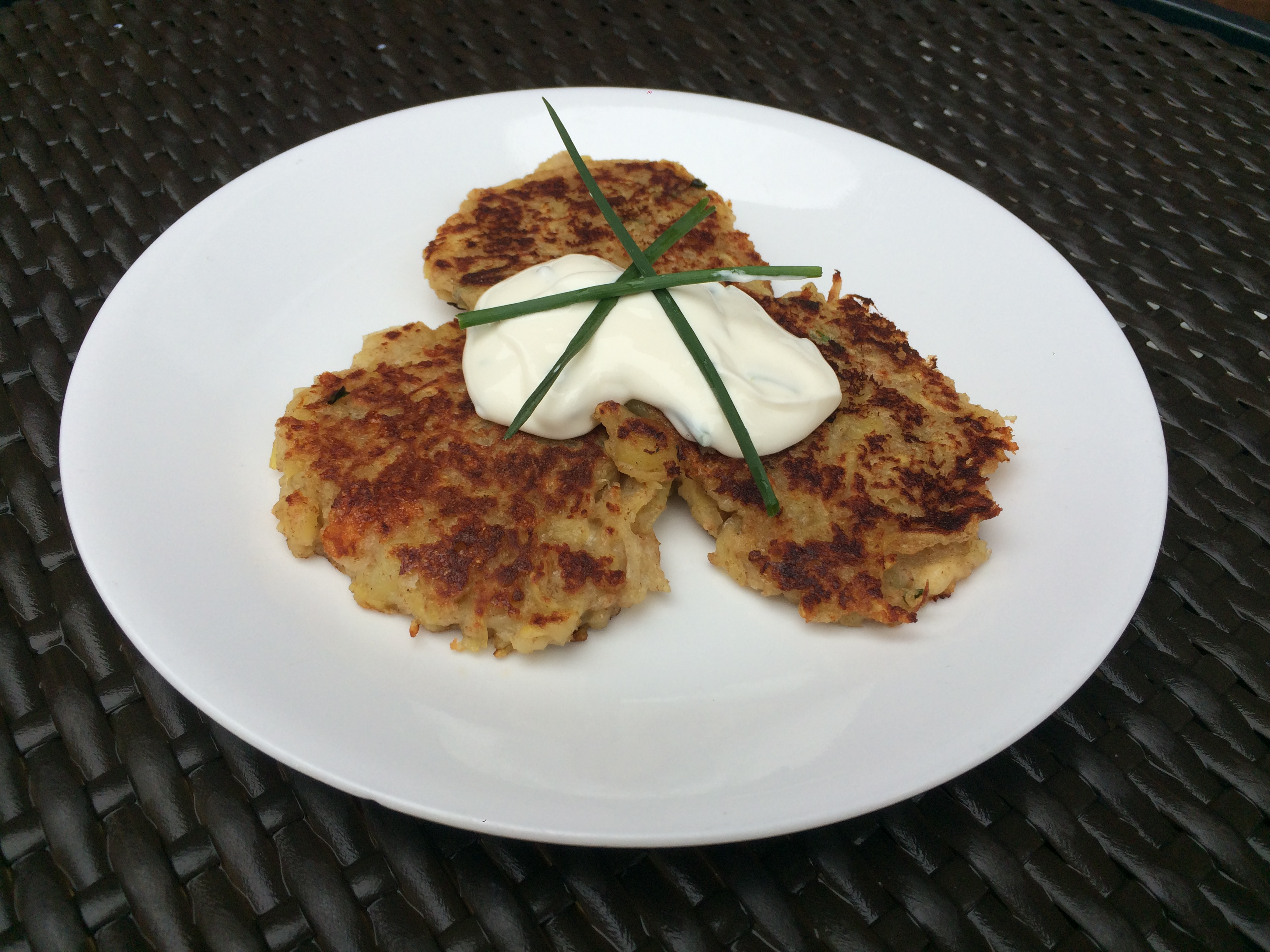 Irish Potato Pancakes With Chive Sour Cream | Natural Health Resource ...