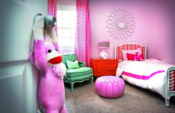 kids bedroom pink wall with a sock monkey - Bedroom Best Colors