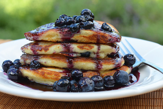 blueberry pancakes with maple blueberry syrup
