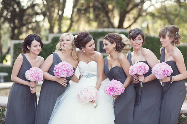 Bridesmaid Grey dresses with purple flowers pictures best photo