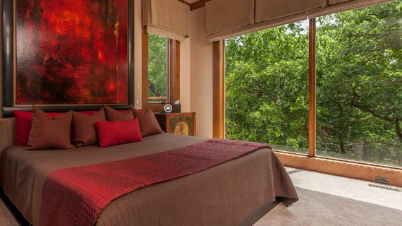 brown bed red modern art painting bedroom