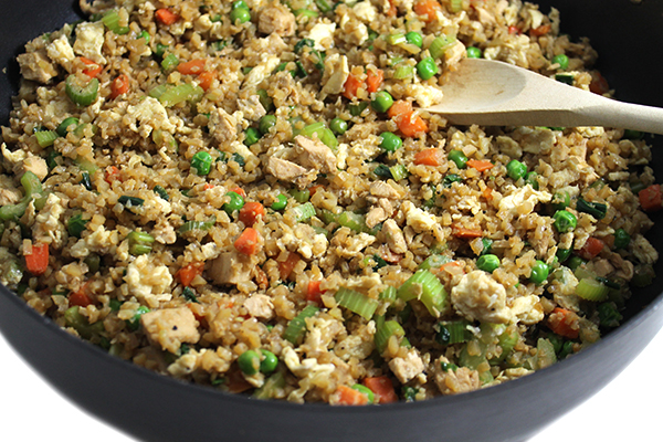 Amazing, Skinny Chicken Fried Cauliflower Rice