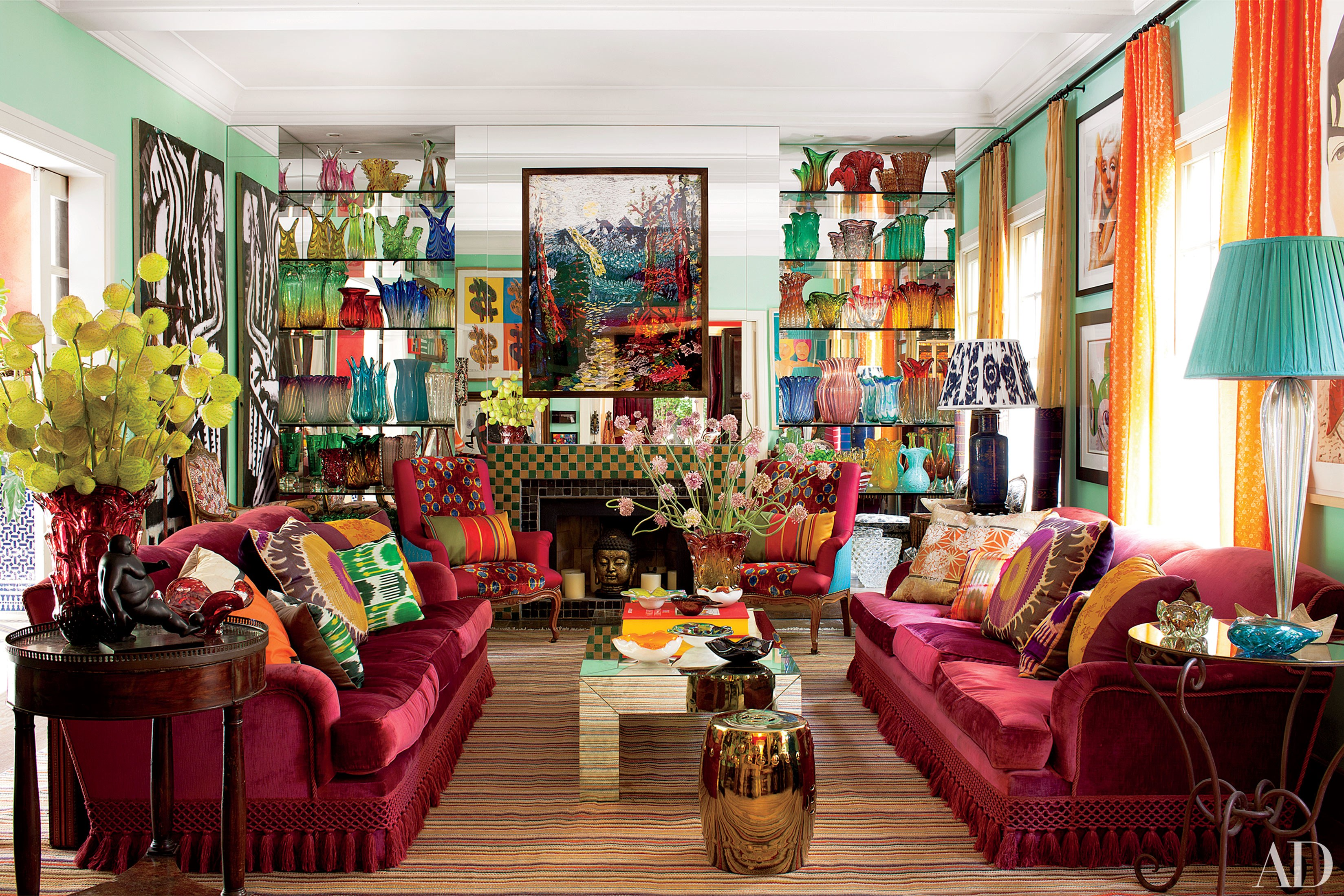 25 Bright and Colorful Room Ideas | HuffPost on Colourful Living Room  id=28753