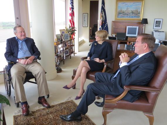 President George H.W. Bush with National Organization on Disability Chairman Gov. Tom Ridge and President Carol Glazer