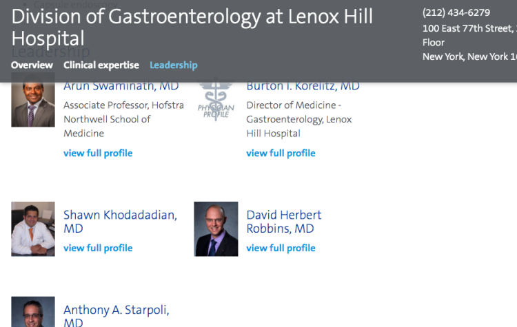 "Lennox Hill has a Division of Gastroenterology, not a ""Section ..."