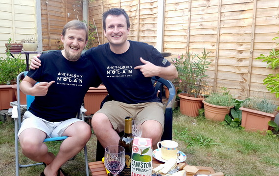 George and his stem cell donor Tim after a meal made by food blogger Mariacristina