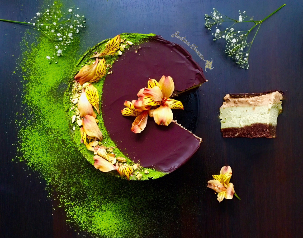 Raw Vegan Matcha Nougat and Caramel Cheesecake