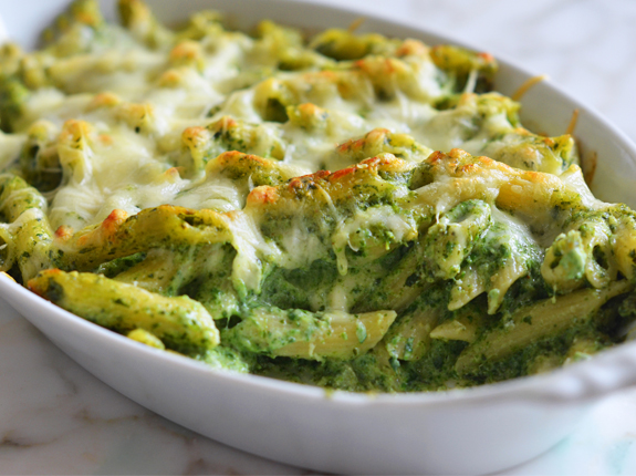 baked penne with spinach ricotta fontina