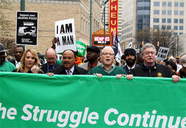 AFSCME President Lee Saunders honors the life of Martin Luther King Jr. at the 45th Anniversary Celebration of the Memphis Sanitation Workers strike