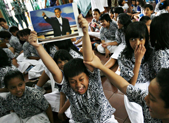 children in jakarta celebrate obama's victory