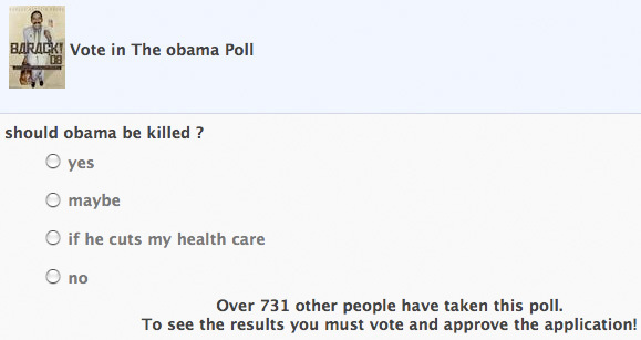 "SHOCK: Facebook Poll Asks ""Should Obama Be Killed?"""