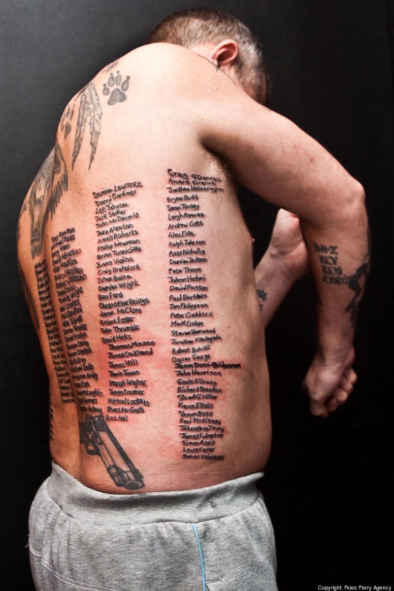 110e54eca Shaun Clark PHOTOS: Former British Soldier Has Names Of Troops Killed In  Afghanistan Tattooed On His Body