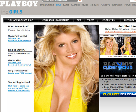 Scroll down for a screengrab of Lee's Playboycom profile NSFW link and