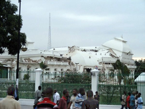 Haiti Presidential Palace in Port-au-Prince laying in ruins.