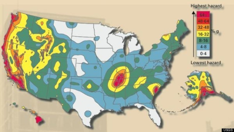 US Fault Lines GRAPHIC Earthquake Hazard MAP HuffPost